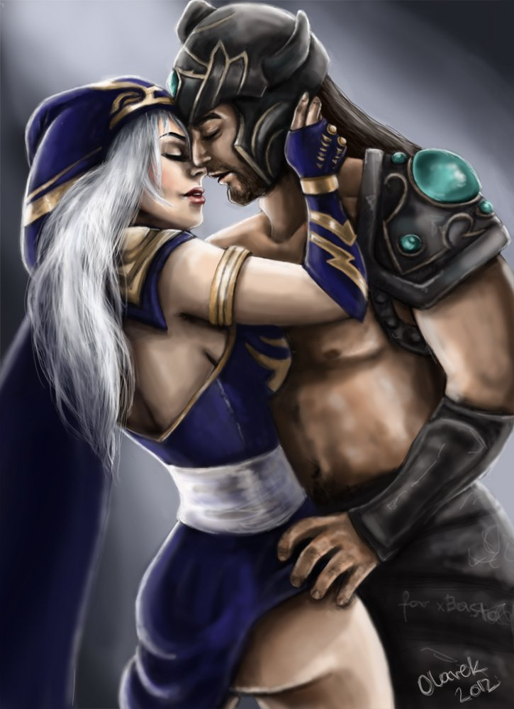 ashe_and_tryndamere_by_olarek-d5mii61