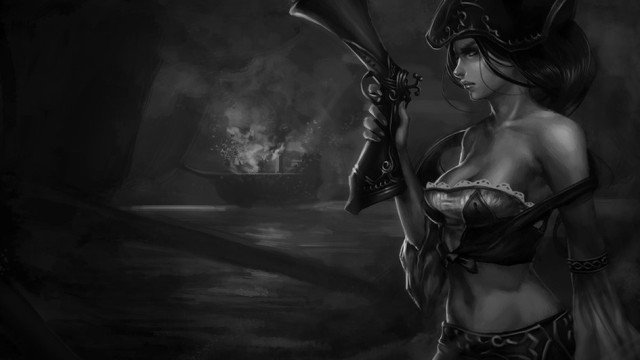 League-Of-Legends-Black-And-White-Miss-Fortune-Wallpaper