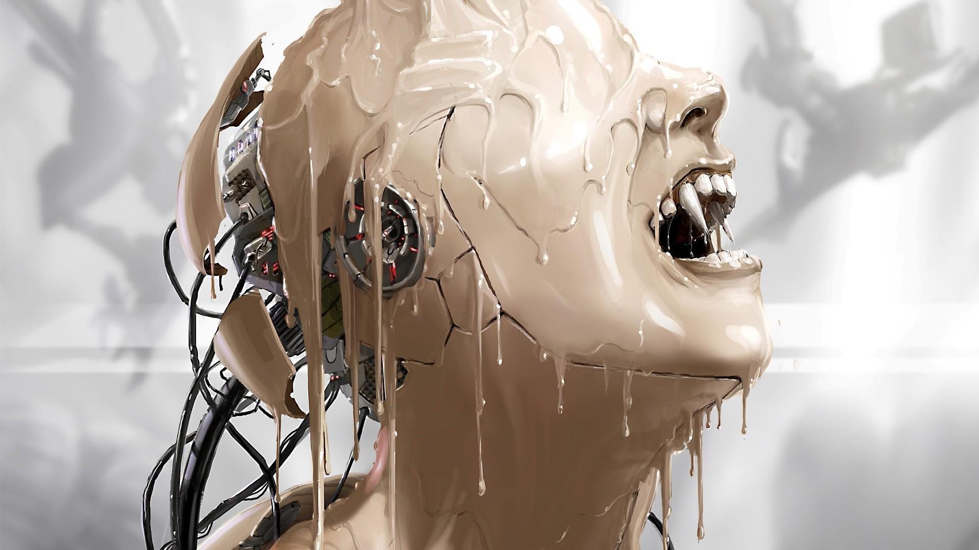 cyborg_paint_robot_vampire_fangs_62574_1920x1080