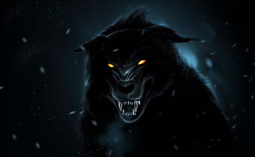 werewolf-dark-forest-black-wolf-paint-snow-ghost-hd-wallpaper